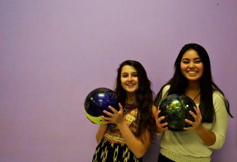 Sophie Mancini and Kara Bossi, members of the bowling team