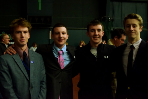 Souhegan boys, Nick Scavetta, Nick Tiso, Lloyd Mosher and Spencer Reese at Donald Trump Rally