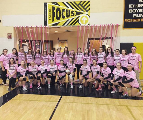 Girls Volleyball Digs Pink to Fight Cancer