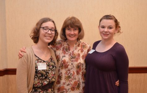 The Souhegan winners pose with their nominator, Anne Burke.