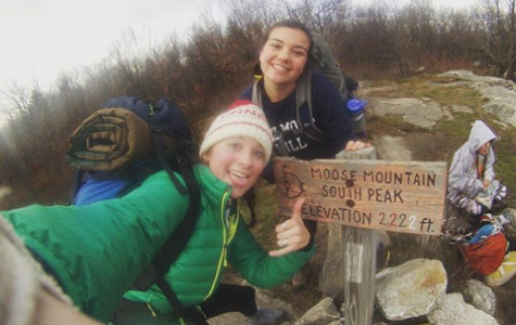 Emily and Eliza enjoying their time on top of Moose Mountain.  10 girls participated in the first overnight hike of the year.