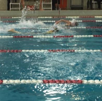 SHS swimmer mid race