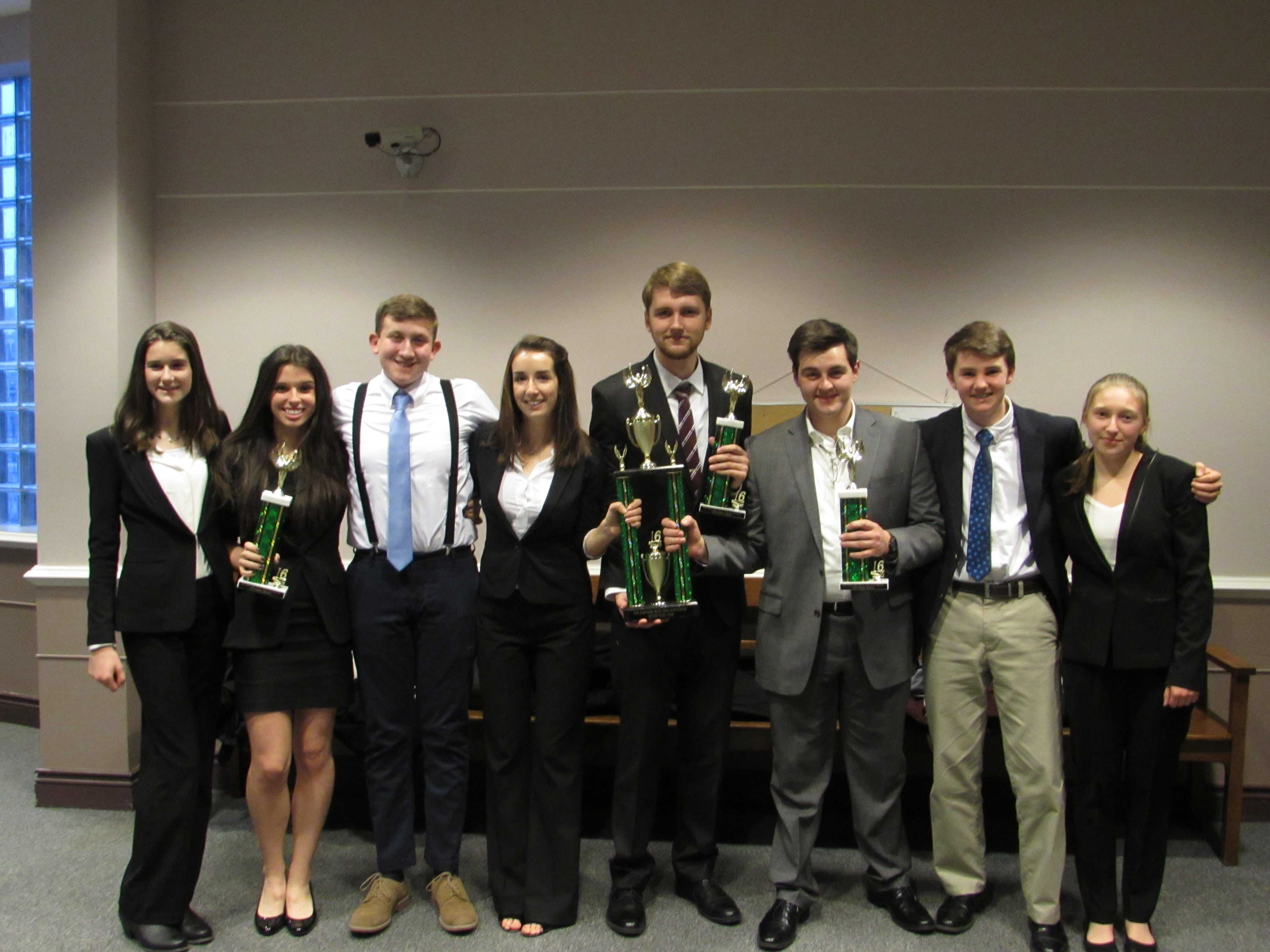 The varsity mock trial team after the Bishop Guertin invitational meet