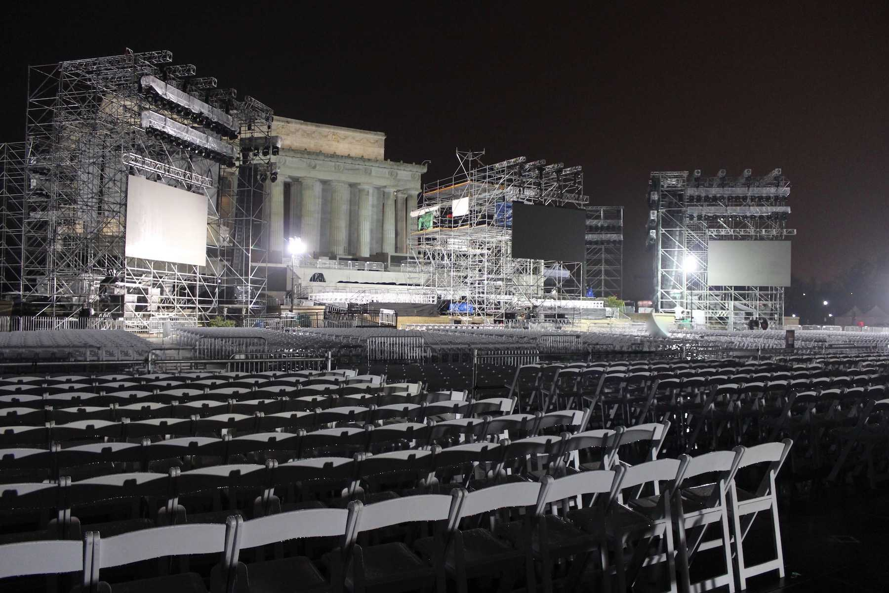 The Inaugural Stage with the Lincoln Memorial in the background.