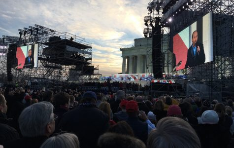 View from students Anna Waldron and Sarah Eastland seats at the Voice of the People Welcome Ceremony on Thursday in front of Lincoln Memorial.