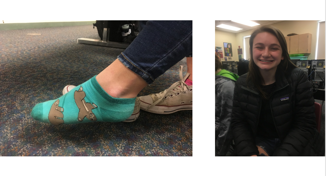 Souhegan+sophomore+Hannah+Rowe+is+shown+wearing+the+socks+her+friend+gave+her.+She+loves+sloths+and+so+these+socks+are+naturally+one+of+her+favorite+pairs.+She+too+agrees+that+socks+can+help+boost+your+mood.+%E2%80%9CIf+I%E2%80%99m+sad+I+can+just+look+down+and+see+a+sloth+smiling+back+at+me%E2%80%9D+Hannah+beams.+When+asked+if+socks+are+a+good+expression+of+mood+or+personality+hannah+replied+with+%E2%80%9CYes.+I+mean%2C+if+someone+wears+white+socks+everyday%2C+maybe+they+are+afraid+to+go+outside+of+their+comfort+zone.+But+if+they+are+wearing+fun+socks%2C+it+might+show+that+they+are+enjoy+fun+and+weird+things+a+little+more.%E2%80%9D