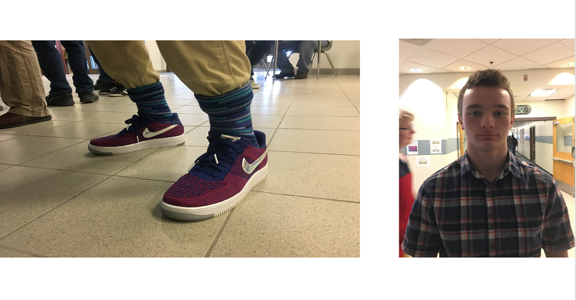 Sporting+some+tall+striped+socks%2C+Souhegan+senior+Harry+Frank+takes+pride+in+the+way+his+shoes+and+socks+are+matching.+He+describes+his+socks+as+%E2%80%9Cfresh%E2%80%9D+and+likes+wearing+them+because+he+believes+they+are+a+good+reflection+of+his+own+creativity.+He+thinks+that+socks+can+tell+you+a+bit+about+people%E2%80%99s+personalities+and+how+outgoing+they+are.