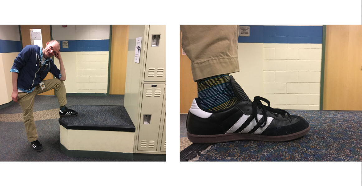 Souhegan+teacher+Matt+McDonald+shows+of+his+colorful+socks+that+he+chose+to+wear+since+it+matched+his+sweater+that+day.+He+said+he+loves+how+random+socks+can+be+and+continued+with+%E2%80%9CSometimes+I+like+to+wear+socks+that+completely+clash+with+what+I%27m+wearing%2C+but+today+I+decided+I+would+match+my+socks+with+the+other+colors+I%E2%80%99m+wearing.%E2%80%9D+Matt+got+these+particular+pair+of+socks+from+a+monthly+sock+subscription+box+%28believe+it+or+not%29.+He+thinks+socks+are+a+good+outlet+for+expression%2C+especially+since+some+people+like+to+have+certain+strong+characteristics+about+themselves.+