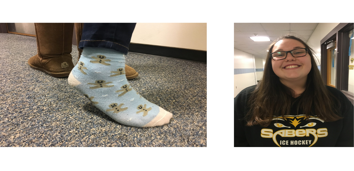 Another+Souhegan+senior+Lindsey+Hagerstrom+sports+her+sassy+socks%2C+which+are+Christmas+themed+as+well.+She+said+that+she+wore+her+socks+that+particular+day+because+she+simply+needed+higher+socks%2C+but+that+she+does+believe+that+socks+are+a+good+use+of+expression.+She+explains+how+%E2%80%9CIf+you+are+a+fun+person+and+you+wear+fun+socks%2C+you%E2%80%99ll+feel+extra+fun+that+day.%E2%80%9D+She+loves+how+quirky+socks+can+be%2C+and+thinks+that+they+can+be+used+to+brighten+people%E2%80%99s+day.