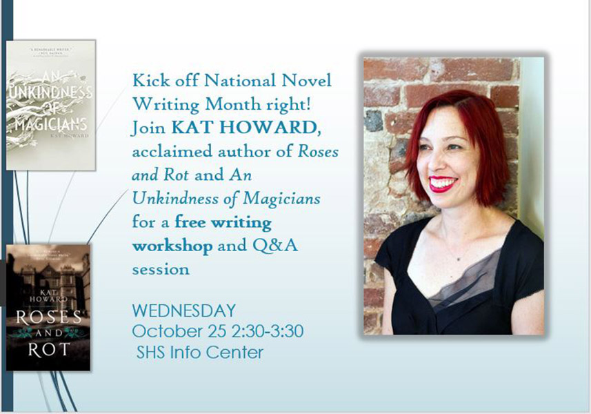 Join nationally acclaimed author Kat Howard for a free writing workshop.