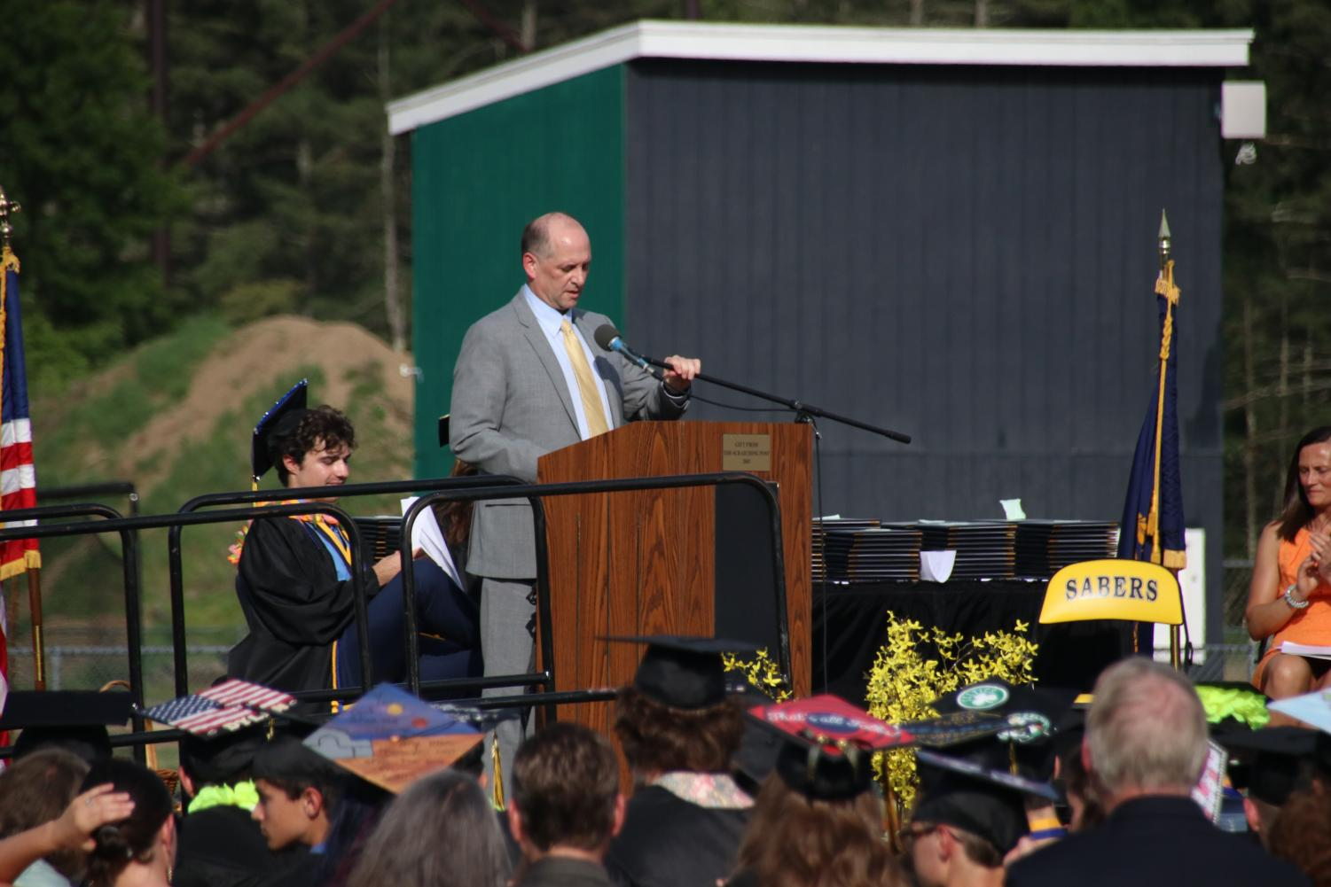 Rob+Scully%2C+principle+of+Souhegan%2C+also+addressed+the+graduating+class.