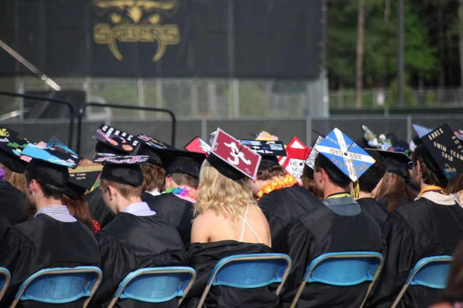 Many of the students decorated their caps with what their Souhegan experience was like or what their plans are for the future.