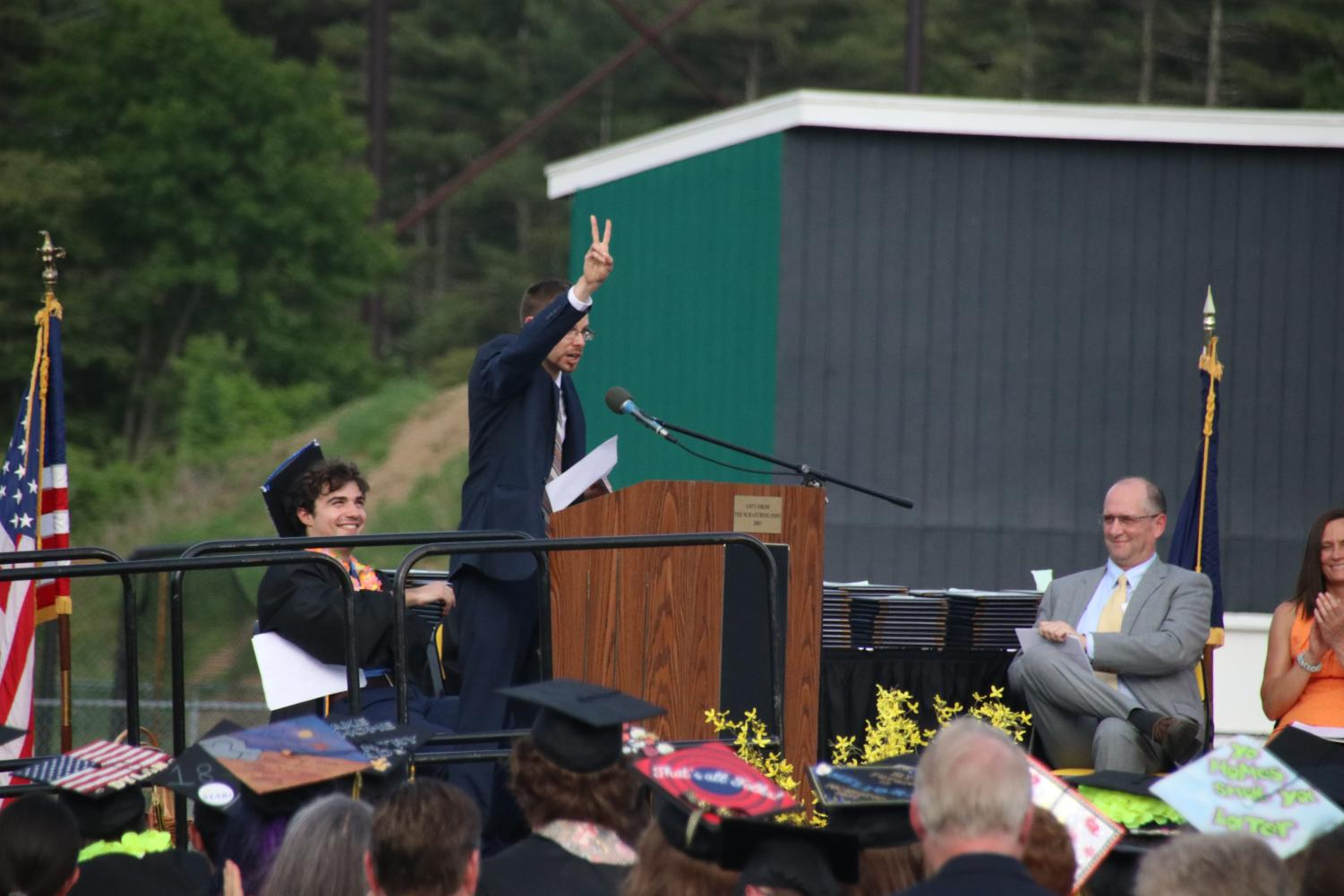 Sean Whelan sent off the Class of 2018 with a peace sign.
