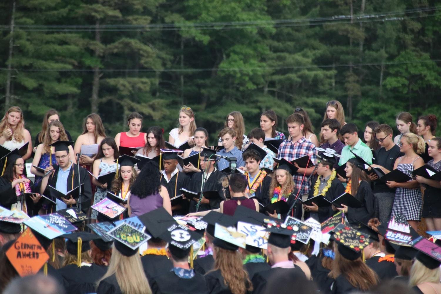 The+Souhegan+Choir+and+Band+performed+between+speeches.