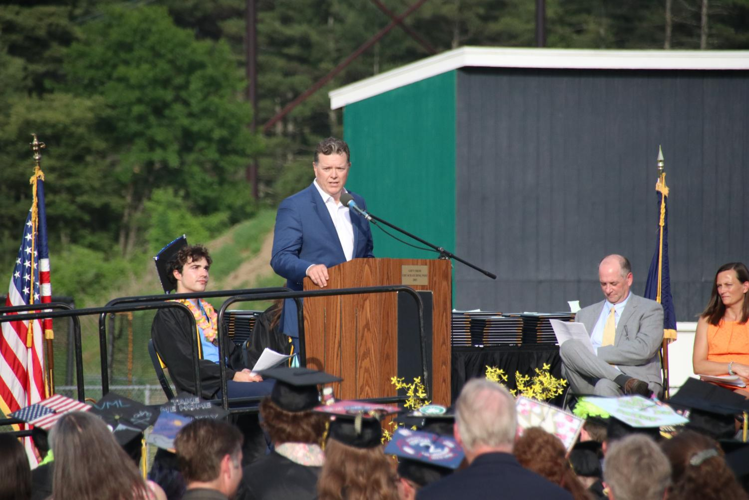 The+Chair+of+the+Souhegan+School+Board%2C+Jim+Manning%2C+spoke+at+the+ceremony.