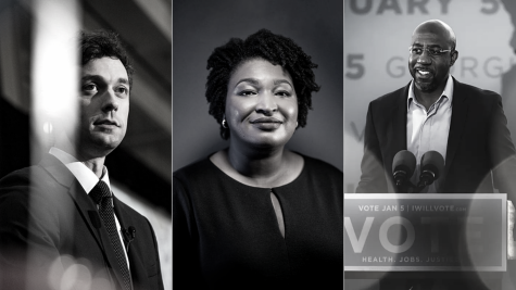 John Ossoff, Stacey Abrams, and Raphael Warnock (From left to right)